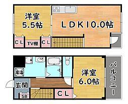阪急神戸本線 王子公園駅 徒歩8分の賃貸マンション 3階2LDKの間取り