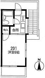 メゾンフジI2階Fの間取り画像