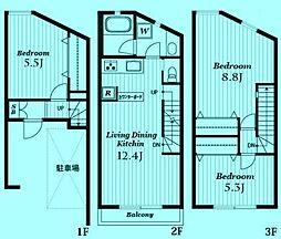 [タウンハウス] 神奈川県川崎市高津区久地4丁目 の賃貸【/】の間取り
