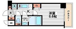 プレサンス心斎橋ブライト 7階1Kの間取り