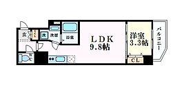 Osaka Metro中央線 堺筋本町駅 徒歩10分の賃貸マンション 7階1LDKの間取り