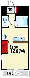 JR鹿児島本線 赤間駅 徒歩1分の賃貸マンション 2階ワンルームの間取り