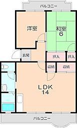 隆豊ハイツ 3階2LDKの間取り