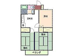 ピアコート城ヶ崎[2階]の間取り
