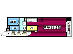 中ノ坂レジデンス 4階ワンルームの間取り