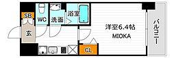 ララプレイス天王寺ルフレ 9階1Kの間取り