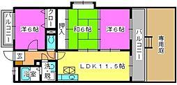 セントレージ博多[105号室]の間取り