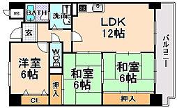 兵庫県伊丹市池尻7丁目の賃貸マンションの間取り