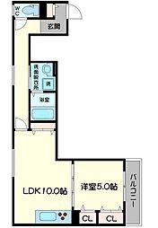 クリエオーレ生江II 1階1LDKの間取り