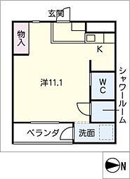 nuts imaike 4階ワンルームの間取り
