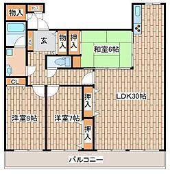 兵庫県神戸市須磨区妙法寺字岩山の賃貸マンションの間取り