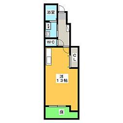 テックメイト二之宮 1階ワンルームの間取り