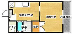 パレス若園[2階]の間取り