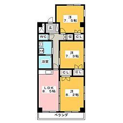 フレアグレイス[6階]の間取り
