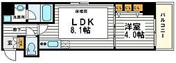 大阪府大阪市中央区高麗橋1丁目の賃貸マンションの間取り
