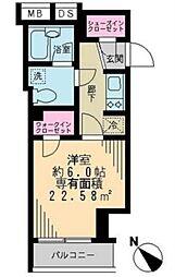 東京メトロ銀座線 京橋駅 徒歩5分の賃貸マンション 11階1Kの間取り