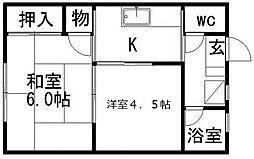 上野コーポ[2階]の間取り