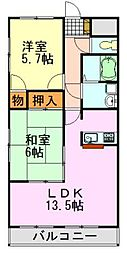 ゼファーシャンティオン蘇我壱番館[3階]の間取り