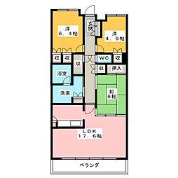 レザンドール東山元町[3階]の間取り