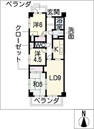 グランドメゾン城西A−9[9階]の間取り