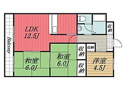 京成本線 京成成田駅 バス9分 新木戸下車 徒歩8分の賃貸マンション 1階3LDKの間取り