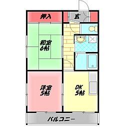ハイタウン日吉町コーポ 3階2Kの間取り