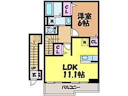 愛媛県松山市桑原1丁目の賃貸アパートの間取り