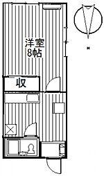 ミヤマハイツI 1階1Kの間取り