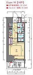 JR東海道・山陽本線 兵庫駅 徒歩3分の賃貸マンション 12階1Kの間取り