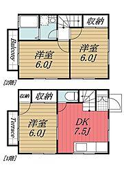千葉県富里市立沢の賃貸アパートの間取り