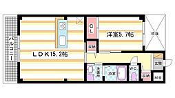 奈良県奈良市杏町の賃貸マンションの間取り