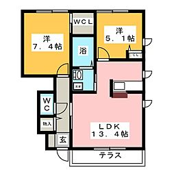 ヒュドールヒューレー G棟[1階]の間取り