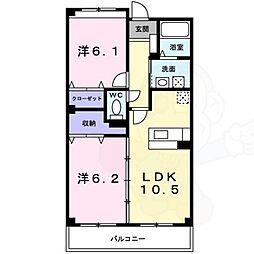 泉北高速鉄道 和泉中央駅 徒歩17分の賃貸マンション 2階2LDKの間取り