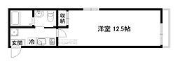 京阪本線 七条駅 徒歩4分の賃貸マンション 2階1Kの間取り