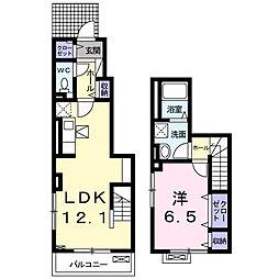 パレス ジェリカ III B[1階]の間取り