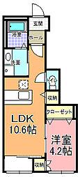 La carota 1階1LDKの間取り
