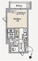 東急田園都市線 桜新町駅 徒歩16分の賃貸マンション 6階1Kの間取り