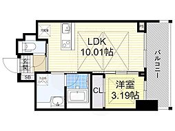 ノルデンタワー江坂プレミアム 7階1LDKの間取り