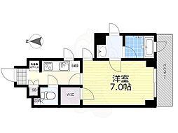 京王線 国領駅 徒歩4分の賃貸マンション 6階1Kの間取り