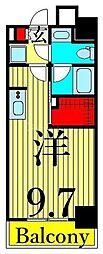 JR山手線 日暮里駅 徒歩11分の賃貸マンション 9階ワンルームの間取り