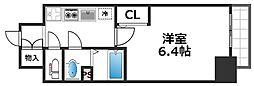 プレサンス上町台筆ケ崎SOUTH 9階1Kの間取り