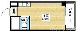 阪急千里線 柴島駅 徒歩3分の賃貸マンション 2階ワンルームの間取り