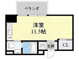 COZY名城公園 7階ワンルームの間取り