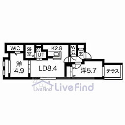 札幌市営東西線 菊水駅 徒歩8分の賃貸マンション 1階2LDKの間取り