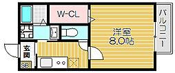 京阪本線 西三荘駅 徒歩4分の賃貸マンション 2階1Kの間取り