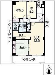 茶屋ヶ坂パークマンション[7階]の間取り