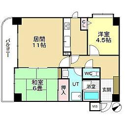 ライオンズマンション琴似八軒 3階2LDKの間取り