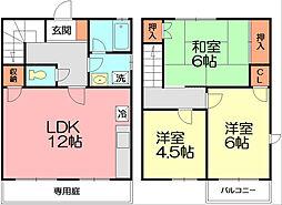[テラスハウス] 神奈川県藤沢市大鋸3丁目 の賃貸【/】の間取り