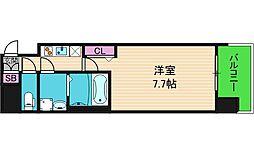 エグゼ上町台 6階1Kの間取り