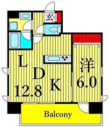 JR高崎線 尾久駅 徒歩4分の賃貸マンション 6階1LDKの間取り